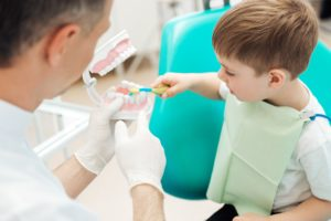 young boy at dentist